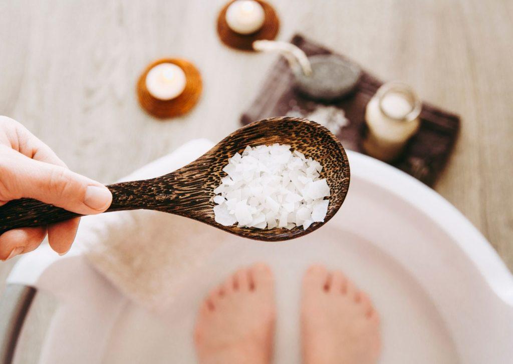 bain de pied au sel